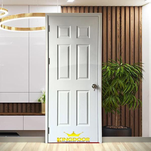 Mẫu cửa gỗ HDF 6 ô Panel kết hợp sơn trắng tạo vẻ đẹp tinh tế, lịch lãm