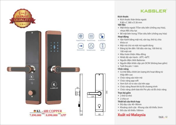 khóa điện tử kassler KL 600 copper